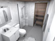 80,5 m² asunnon kylpyhuone, valkoinen sisustusmaailma