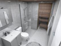 80,5 m² asunnon kylpyhuone, harmaa sisustusmaailma