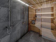 B9 sauna, sisustusmaailma HIILI (havainnekuva)