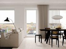 Visualisointikuvassa taiteilijan näkemys 12. kerroksen 62 m2:n kodin olohuoneesta (julkisivusäleikköjen sijainnit vaihtelevat kerroksittain)