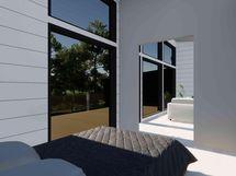Makuuhuoneessa isot ikkunat antava valoa (havainnekuva)