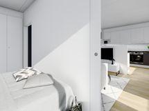 43 m² asunnon makuuhuone, musta sisustusmaailma