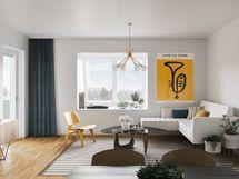 Visualisointikuvassa taiteilijan näkemys 6. kerroksen lapeikkunallisesta kodista