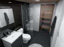 80,5 m² asunnon kylpyhuone, musta-valkoinen sisustusmaailma