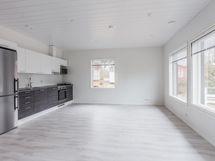 Keittiö ja olohuone avointa yhtenäistä tilaa