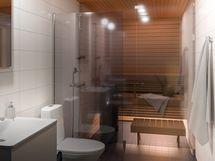 Viitteellinen kuva 106,5m2 kokoisesta saunallisesta asunnosta.