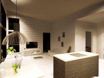 Olohuonetta ja ruokailutilaa keittiöstä katsottuna (havainnekuva)