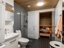 Tyylikäs kylpyhuone/wc ja sauna