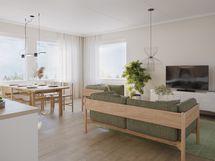 Havainnekuva 68,5 m² asunnon olohuoneesta