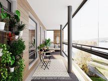 Havainne 73,5 m² parvekkeesta, eroavuus vain sivuikkunoiden kohdalla