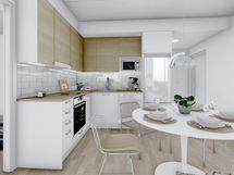 57,5 m² asunnon keittiö, valkoinen sisustusmaailma