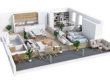 Asunnon kalustettu 3D-pohjakuva
