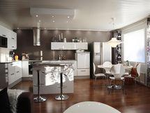 Keittiötä olohuoneen suunnasta