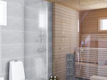Viitteellinen visualisointikuva kylpyhuoneesta.