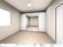 Päämakuuhuoneeseen tulee liukuovikaapitot. Lasipariovet olohuoneen avautuvat olohuoneeseen.