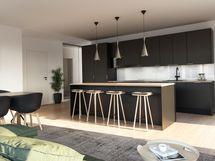 Havainnekuva asunnon keittiöstä