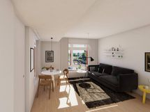 Visualisointi vastaavan asunnon olohuoneesta