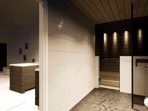 Kodinhoitohuoneeseen ja kylpyhuoneeseen käynti ruokailutilan takaa (havainnekuva)