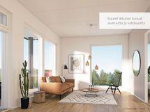 Havainnekuva Isot ikkunat tuovat runsaasti valoa asuntoon