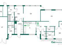 Talon pohjakuva - vihreällä nuolella merkityistä kohdista voi avata alkuperäiset oviaukot