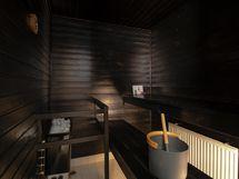 Tunnelmallinen, elegantti musta sauna.
