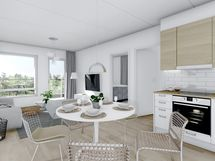 57,5 m² asunnon yleiskuva, valkoinen sisustusmaailma