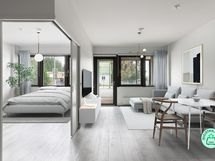 Makuuhuone ja olohuone( digistailattu) - Sovrum och vardagsrum( digitalt stailat)