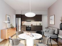 Visualisointikuvassa taiteilijan näkemys 41 m2 asunnosta 75.