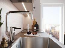 Visualisointikuvassa taiteilijan näkemys 51 m2:n kodin keittiöstä