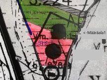 Määräala 1 kartassa vihreällä