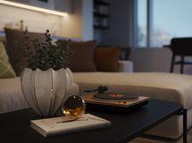 Visualisointikuvassa taiteilijan näkemys 62.5 m2 kodin olohuoneesta