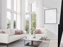 Upea olohuone suurilla ikkunoilla
