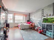 Olohuone, ruokailutila ja keittiö yhtenäistä tilaa