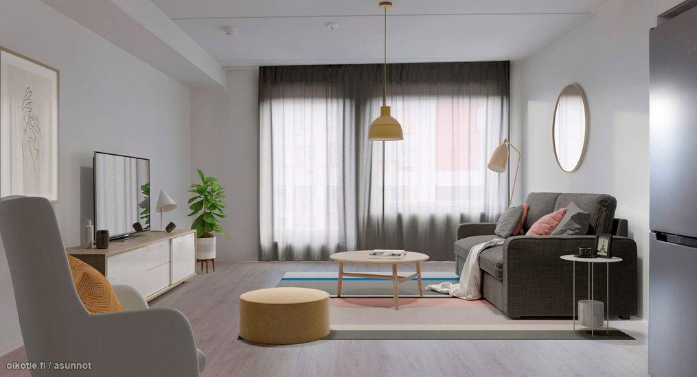 Virtuaalisesti kalustettu kuva asunnosta
