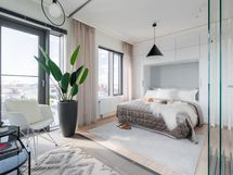 Loiston malliasunto A40 2h+kt 52,0 m2 + viherh.4,5 m2: viherhuone, jossa lasiset siirtoseinät sekä makuuhuoneavattuna)