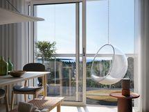 Visualisointikuvassa taiteilijan näkemys 6. kerroksen 64 m2 asunnosta B80.