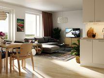 Visualisointikuvassa taiteilijan näkemys 58,0 m2 asunnosta.