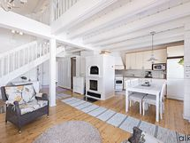 Olohuone ja keittiö on yhtenäistä tilaa