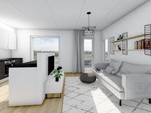 43 m² asunnon olohuone, musta sisustusmaailma