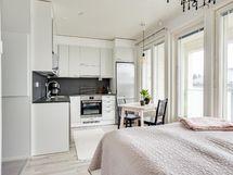 Olohuone ja keittiö ovat yhtä tilaa