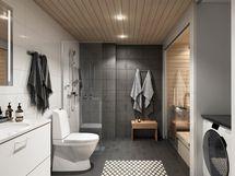 Muutamissa kahden ja kolmen huoneen kodeissa on sauna.