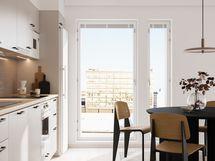 Visualisointikuvassa taiteilijan näkemys 11. kerroksen 51 m2:n kodin keittiöstä