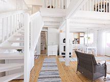 Eteisen edustalta portaat johtavat tilavalle parvelle.