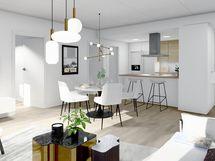 80,5 m² asunnon olohuone ja ruokailutila, valkoinen sisustusmaailma