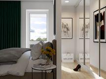 Visualisointikuvassa taiteilijan näkemys 51.5 m2 kodin upeasta walk-in-closetista.