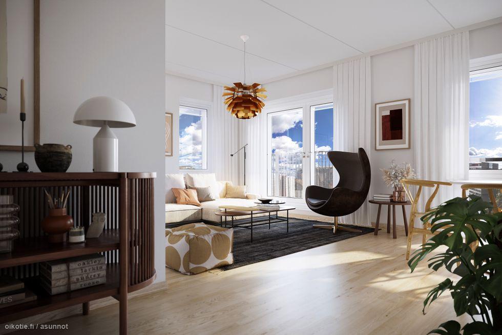Visualisointikuvassa taiteilijan näkemys Aurajokimaisemiin avautuvasta 6. kerroksen 67.5 m2 kodin olohuoneesta.
