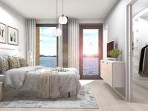 Näkymä 105 m² huoneiston makuuhuoneesta