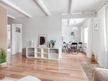 Olohuoneen ja keittiön muodostama tila