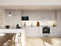 Visualisointikuvassa taiteilijan näkemys 79 m2 kodin keittiöstä.