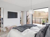 Havainnekuva 96 m² asunnon makuuhuoneesta